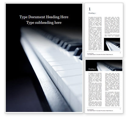 Art & Entertainment: Closeup of Piano Keys Word Template #15992