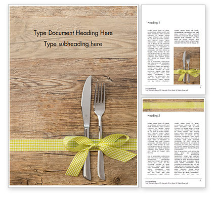 Careers/Industry: Knife and Fork with Gift Ribbon on Wooden Surface Word Template #15993