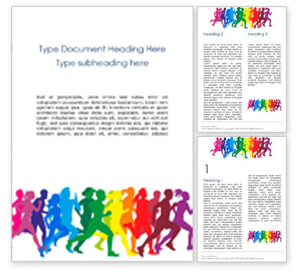 People: Colored Silhouettes of Running People Word Template #16001