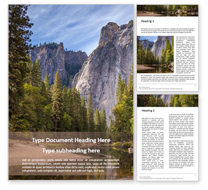 Nature & Environment: River Beneath Yosemite Cliffs Word Template #16002
