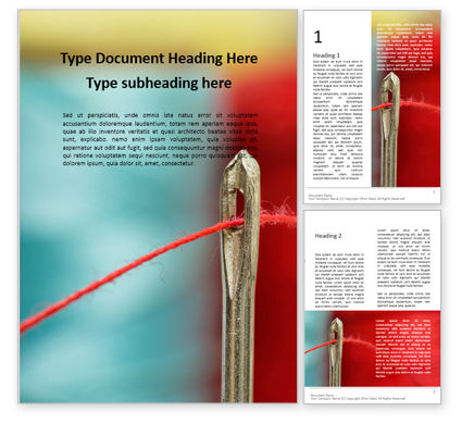 Careers/Industry: Red Thread Going Through Needle Eye Word Template #16003