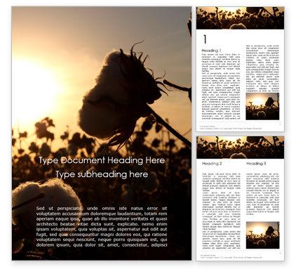 Nature & Environment: 무료 워드 템플릿 - 면화 필드 위에 일출 #16006
