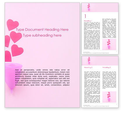 Medical: Menstrual Cup with Hearts on Pink Background Word Template #16009