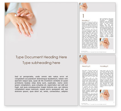 Medical: Woman Applying Lotion on Hands Word Template #16010