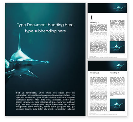 Nature & Environment: Hammerhead Shark in Deep Water Word Template #16014