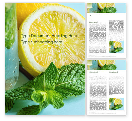 Food & Beverage: Cucumber Lemon and Mint Water Word Template #16016