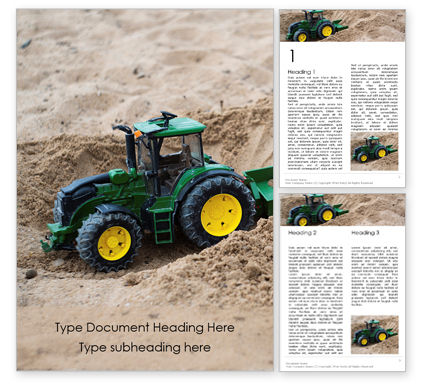 Utilities/Industrial: Toy Tractor in Sand Word Template #16018