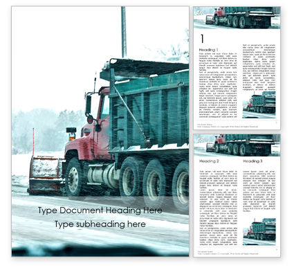 Cars/Transportation: Snowplow Removing Snow Word Template #16022