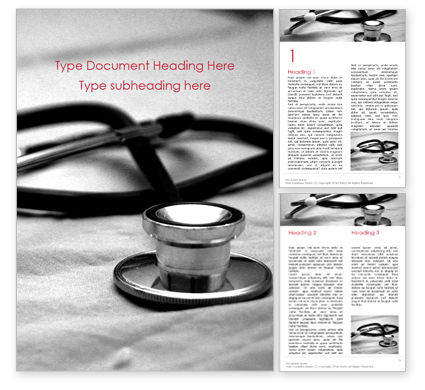 Medical: Medical Stethoscope on Hospital Bed Word Template #16025