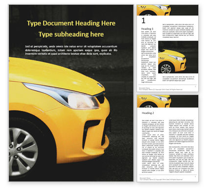 Cars/Transportation: Yellow Taxi Cab Word Template #16026