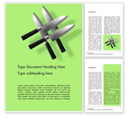 Careers/Industry: Four Levitating Knives Against Green Background Word Template #16027