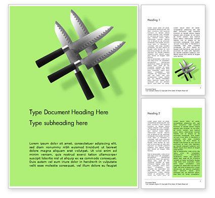 Careers/Industry: Modelo de Word Grátis - quatro facas levitando contra fundo verde #16027