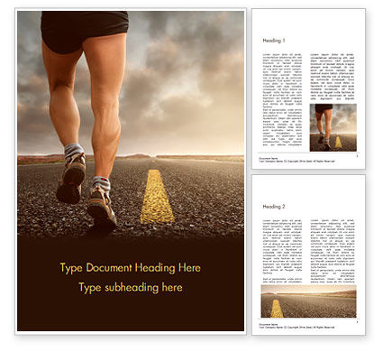 Sports: Low Angle View of Man Running on Asphalt Road Word Template #16029