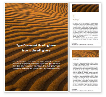 Nature & Environment: Patterns on Sand Word Template #16031