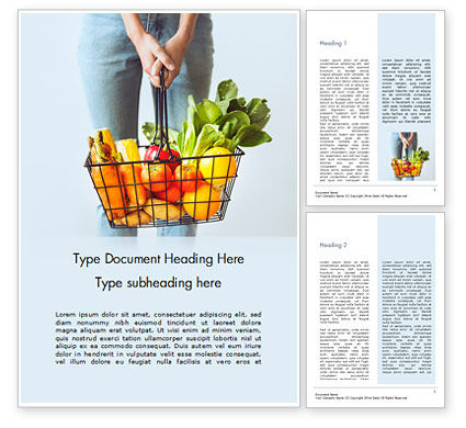 Food & Beverage: Woman Holding Shopping Basket Full of Fruits and Vegetables Word Template #16034
