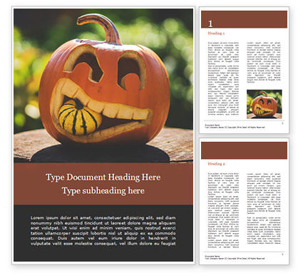 Holiday/Special Occasion: Halloween Carved Pumpkin Word Template #16039