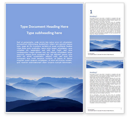 Nature & Environment: Mountain Peaks in Blue Morning Fog Word Template #16043