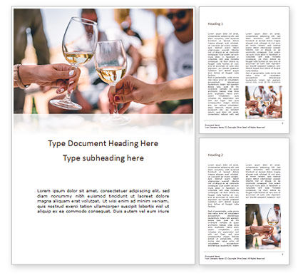 Clinking Glasses with White Wine and Toasting Word Template, 16044, Food & Beverage — PoweredTemplate.com