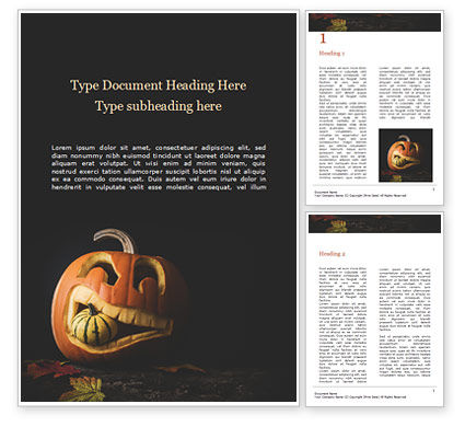 Holiday/Special Occasion: Halloween Carved Pumpkin in Darkness Word Template #16046