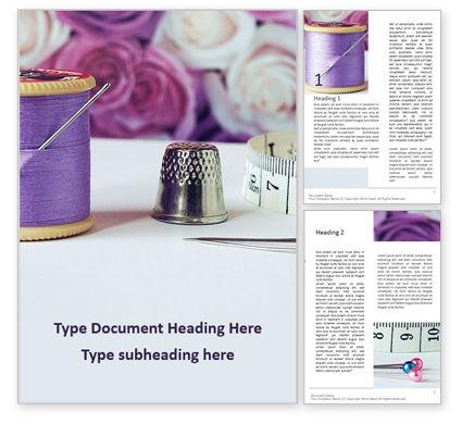 Careers/Industry: Plantilla de Word gratis - flores y herramientas de costura #16048
