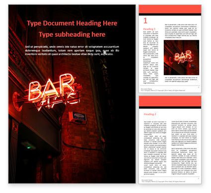 Food & Beverage: Neon Bar Sign Word Template #16049