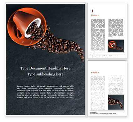 Food & Beverage: Coffee Beans Spilled From a Cup Word Template #16054