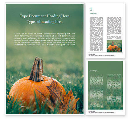 Food & Beverage: Small Pumpkin in the Grass Word Template #16055