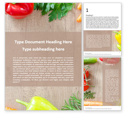 Food & Beverage: Frame of Organic Vegetables Word Template #16057