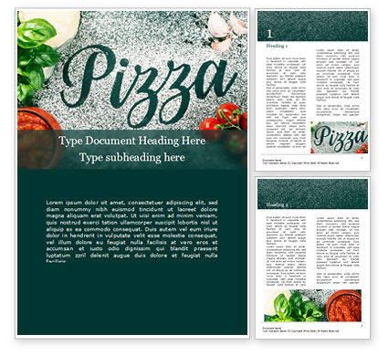 Food & Beverage: Pizza-Sign with Flour Tomato-Sauce Garlic and Mozzarella Word Template #16058