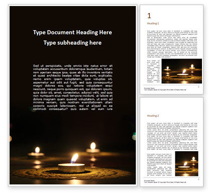Holiday/Special Occasion: Candles Lit on Occasion of Diwali Festival Word Template #16059