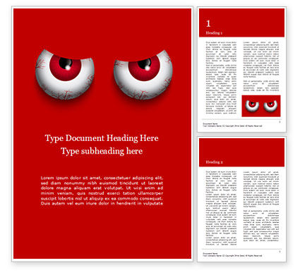 General: Cartoon Evil Red Eyes on Red Background Word Template #16061