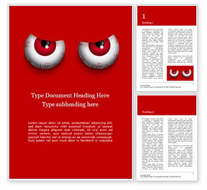 General: Plantilla de Word gratis - dibujos animados de malvados ojos rojos sobre fondo rojo #16061