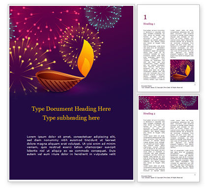 Holiday/Special Occasion: Traditional Diya Against Diwali Fireworks Background Word Template #16063