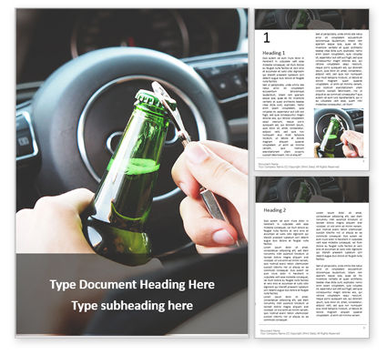Legal: A Driver Holding Alcoholic Bottle Word Template #16069