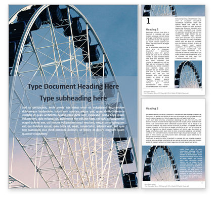 Art & Entertainment: Ferris Wheel with Blue Sky Word Template #16070