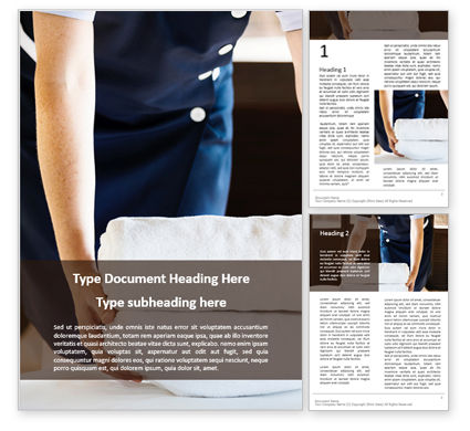 Careers/Industry: Housekeeper Cleaning a Hotel Room Word Template #16077