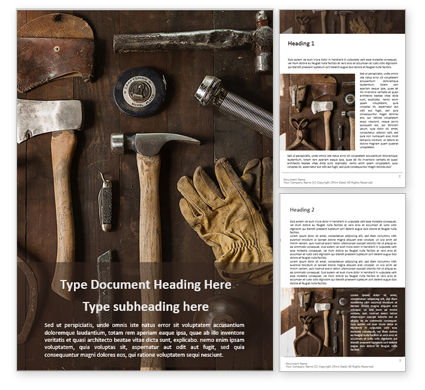Utilities/Industrial: Set of Old Used Tools Word Template #16078