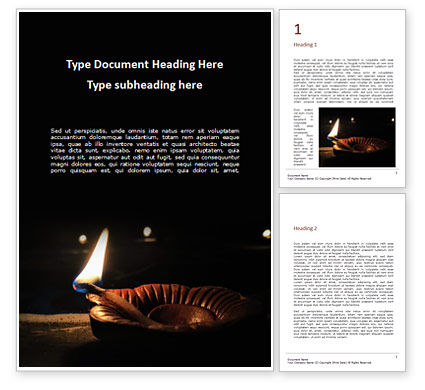 Holiday/Special Occasion: Diwali Diya Word Template #16080