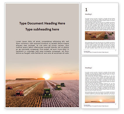 Technology, Science & Computers: Harvest at Sunset Word Template #16082