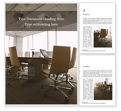 Business: An Empty Meeting Room and Conference Table Word Template #16085