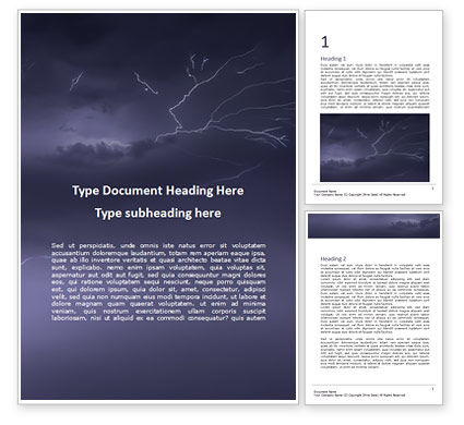 Nature & Environment: Thunder and Lightnings During Summer Storm Word Template #16087