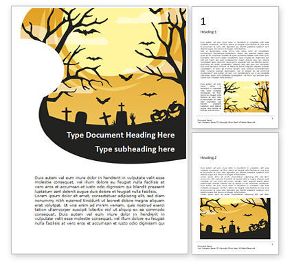 Holiday/Special Occasion: Halloween Silhouettes Word Template #16088