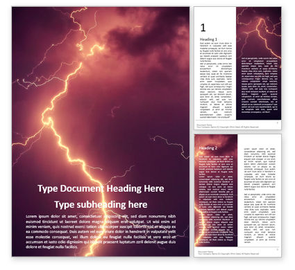 Nature & Environment: Lightning Strike Word Template #16093