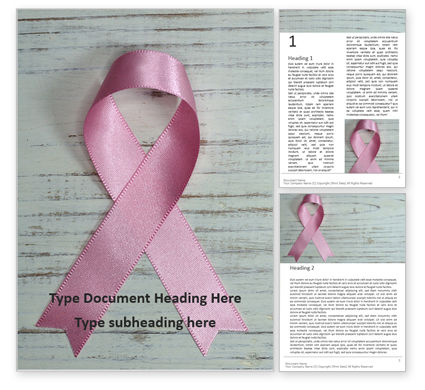 Religious/Spiritual: Breast Cancer Pink Ribbon on Wooden Background Word Template #16094