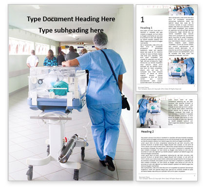 Medical: Little Patient Transportation in a Hospital Corridor Word Template #16095