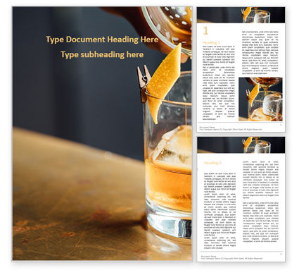 Whiskey Cocktail Word Template, 16099, Food & Beverage — PoweredTemplate.com