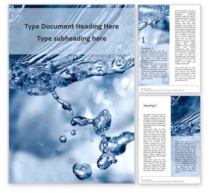 Nature & Environment: Closeup Water Splash Word Template #16100
