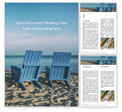 Holiday/Special Occasion: Two Blue Adirondack Chairs on the Beach Word Template #16104
