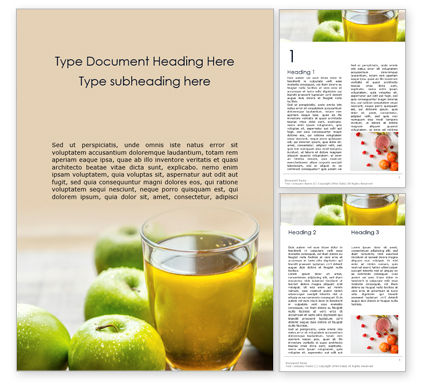 Food & Beverage: Fresh Organic Green Apple Juice Word Template #16106