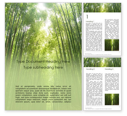 Nature & Environment: Green Bamboo Trees Word Template #16107